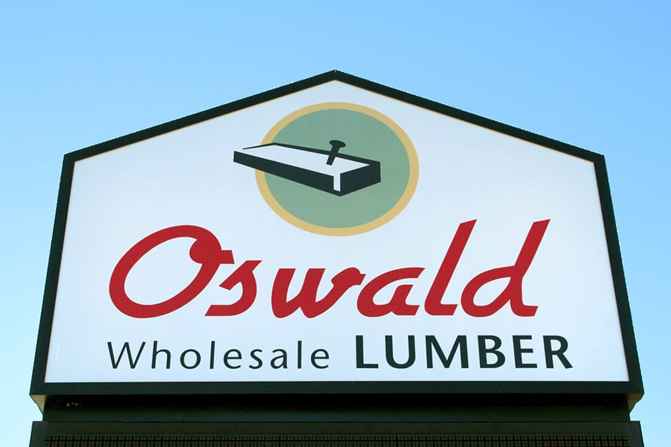 Oswald Wholesale Lumber - Main Sign